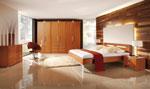 Индивидуален проект на спалня с допълнителна табла с вградено осветление и гардероб в ниша 73-2618